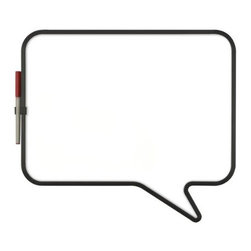 Umbra - Umbra Talk Magnetic Dry-erase Whiteboard - Express yourself and your to-do's with the whimsical Talk magnetic dry-erase board from Umbra. Shaped like a comic-strip talk bubble, the glossy white metal board features black molded trim and a clip on the side for keeping track of the included dry-erase marker. Winner of the 2008 Umbra/Pratt Institute Design competition, a portion of the proceeds from this board are donated to the Pratt Institute School of Art and Design in New York.
