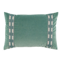 Lacefield Designs - Viridian Velvet Lumbar with Amalfi Glass Tape - Viridian Velvet Lumbar Pillow offers a luxurious pop of texture to your bedding or favorite chair. Amalfi glass tape lines the sides for added interest