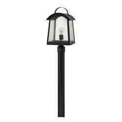 Hinkley Lighting - 2651BK Putney Bridge Outdoor Post Lamp, Black, Etched Opal Glass - Traditional Outdoor Post Lamp in Black with Etched Opal glass from the Putney Bridge Collection by Hinkley Lighting.