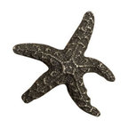 Anne at Home Hardware - Dancing Starfish Knob, Pewter w/ White Wash - Made in the USA - Anne at Home customized cabinet hardware enables even the most discriminating homeowner to achieve the look of their dreams.  Because Anne at Home cabinet hardware is designed to meet your preferences, it may take up to 3-4 weeks to arrive at your door. But don't let that stop you - having customized Anne at Home cabinet knobs and pulls are well worth the wait!   - Available in many finishes.