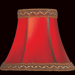 """Lite Source - Lite Source CH534-6 Accessories Shades in Red Faux Leather - Candelabra Shade/Red Faux Leather Bell - 3""""Tx6""""Bx5""""Sl"""