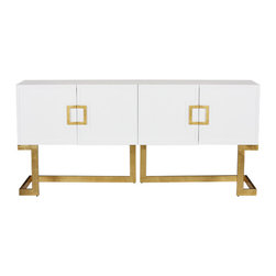 Worlds Away Braxton White Lacquer Console, Gold - Worlds Away Braxton White Lacquer Console