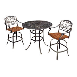 Home Styles - Home Styles Floral Blossom 3 Piece Bistro Set in Charcoal - Home Styles - Patio Bistro Sets - 5558359 - By combining outdoor elements such as ceremonial and abstract floral designs the Floral Blossom Bistro Set by Home Style is brought to life.