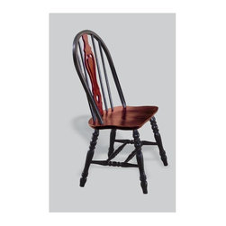 Sunset Trading - Eco-Friendly Windsor Chair - Traditional classic beauty and style. Large backrest and seating area to provide ideal seating solution. Sturdy quality craftsmanship. Keyhole back and scooped cherry finished seat. Cantered keyhole, perfectly carved and steel reinforced turned legs. Warranty: One year. Made from Malaysian oak. Antique black finish. Made in Malaysia. No assembly required. 22 in. W x 20.5 in. D x 41 in. H (17.5 lbs.)This beautifully designed dining chair supplied by Sunset Trading will assure you many years of use and enjoyment. Complete your dining decor with the country charm of timeless casual dining chairs from the Sunset Trading - Sunset Selections Collection. yet always dependably functional, your family and friends will enjoy the seating comfort of these inviting relaxed dining chairs for years to come! Pair with your choice of coordinating Sunset Selections dining tables to bring a touch of country warmth to your home!