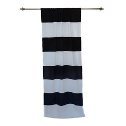Anna Marty Designs - Organic Black and White Horizontal Stripe Curtain Panel - Organic black and white horizontal striped curtain panel by Anna Marty Designs. Instantly bring a modern update to your home! Unlike most striped fabrics, this curtain has a great sense of depth, and high end finish as the stripes are sewn on top of the white curtain base.