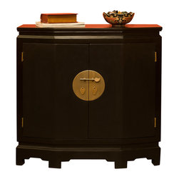 """China Furniture and Arts - Elmwood Ming Style Hallway Chest - Distinct in its simple clean lines, this handsome chest is a fine example of Ming furniture style. The unique size and six sided shape make it ideal for the foyer or hallway. The center brassware is symmetrically fitted reflecting the Chinese ideal of unity. The two doors are designed with a subtle geometric grid pattern on the interior and open to reveal a spacious compartment measuring 35""""W x 11""""D x 25""""H. Comes fully assembled in classic black matte finish.Display accessories not included."""