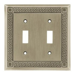 Liberty Hardware - Liberty Hardware W112ZMC-BSP-C5 Greek Key WP Collection 4.96 Inch Switch Plate - - Get the Liberty Greek Key 2-Gang Brushed Satin Pewter Double Toggle Switch Wall Plate to enhance your room's character. It features a sophisticated border design and is made of durable metal.. Width - 4.96 Inch,Height - 5 Inch,Projection - 0.2 Inch,Finish - Brushed Satin Pewter,Weight - 0.44 Lbs