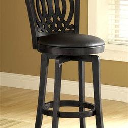Hillsdale - Van Draus Swivel Barstool w Flare Legs in Bla - Offset arcs along the back set the tone for this elegant Van Draus collection swivel barstool. It impresses with a solid wood frame, expertly finished with black stain. Round upholstered seat has matching faux leather. Solid block legs are flared for added stability and grace. For residential use. Solid wood frame. Black faux leather seat. Flared leg. 18.25 in. W x 21.5 in. D x 46.75 in. H. Seat height: 30 in. HThe sophisticated Van Draus stool in an elegant Black finish with Black faux leather appeals to those with a more traditional style.
