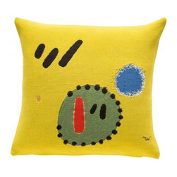 "Decorative Pillow, Miro- 5+2=7 (1965) - ""5+2=7"" oil painting reproduction is licensed by the Miro Foundation. As Joan Punyet Miro, the painter's grandson explains: ""Only works of art that can be perfectly woven and reproduced without distorting neither the force of colors nor the purity of lines were selected."". This oil canvas was painted by Joan Miro in 1965. Jules Pansu worked closely with the Miro Estate and uses different techniques to recreate the colors and the strokes of Miro's brush in this nearly identical reprodution. Pillow made accordingly to Joan Miro selected artwork, with the agreement of the Miro Estate."