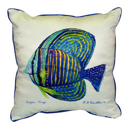 Betsy Drake - Betsy Drake Sailfin Tang Pillow- Indoor/Outdoor - Sailfin Tang Pillow- Large indoor/outdoor pillow. These versatile pillows are equal at enhancing your homes seaside decor and adding coastal charm to an outdoor setting arrangment. They feature printed outdoor, fade resistant fabric for years of wear and enjoyment. Solid back, polyfill. Proudly made in the USA.