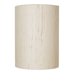 """Lamps Plus - Contemporary Ivory Linen Drum Cylinder Shade 8x8x11 (Spider) - This trim and crisp looking drum shade features a deep cylinder shape. Ivory colored natural linen material features a rolled edge. Spider fitting comes in a white finish to match. Please note this shade is made from natural fibers making each shade slightly different and unique. Ivory colored natural linen shade with rolled edge. White finish spider fitting. Shade drop 2 1/2"""". 8"""" across. 11"""" high.  Ivory colored natural linen shade with rolled edge.   White finish spider fitting.   Shade drop 2 1/2"""".   8"""" across.   11"""" high."""