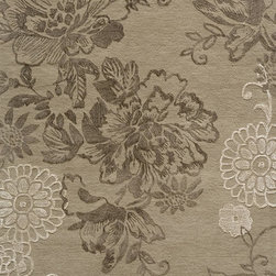 Momeni - Momeni Sensations Light Taupe Brown Flowers Contemporary 9' x 13' Rug by RugLots - As unique as it is striking, Sensations is an elegant group of transitional designs, all of which feature an exceptional over-tufting technique. Tufted of wool, each design is over-tufted with supple art-silk, further enhancing their beauty.