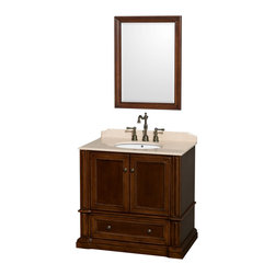 """Wyndham Collection - Rochester 36"""" Cherry Single Vanity, Ivory Marble Top, Undermount Oval Sink - Old world charm meets modern functionality with the Rochester line of traditional bathroom vanities. Designed to look great in any setting, from modest country home to palatial estate, the Rochester vanities will revive and renew your personal sanctuary. Natural stone tops give a touch of additional luxury and the antique bronze hardware adds the finishing touch. The down-to-the-floor base imparts a sense of weight and grandeur, while ample cupboard and drawer storage ensures the quality and practicality that the Wyndham Collection is known for."""