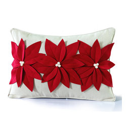 14 Karat Home - Three Poinsettia Pillow - It's a holiday delight. This natural poly-linen blend pillow is adorned with three beautiful, red felt poinsettias. In the center of each flower is a cluster of white pearls to add texture and interest to this decorative holiday pillow. This design is perfect for any room in your home.