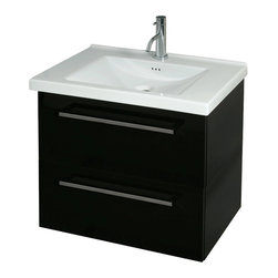 Iotti - 2 Drawer Vanity Cabinet with Ceramic Sink, Glossy White - This trendy bathroom vanity set features a 2 drawer vanity cabinet made of the highest quality engineered wood and a self-rimming white ceramic bathroom sink.