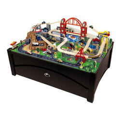 Kidkraft - KidKraft Metropolis Table and Train Set - Kidkraft - Train Tables and Sets - 17935 - Kidkraft Metropolis Table and Train Set lets kids take control of an entire city. The train set is loaded with fun features and interactive pieces and the high-quality wooden table takes playtime off the floor. With this combination kids are sure to have the time of their lives!