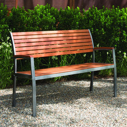 Phat Tommy - Phat Tommy Fusion Bench - You can use this wooden outdoor bench anywhere in your patio or garden to sit and enjoy the view. With a delicately-curved back, the bench allows you to relax comfortably. The steel frame allows the bench to withstand any weather without rusting.