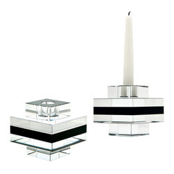 Lazy Susan - Square Tuxedo Crystal Pedestal Candleholders - Set of 2 - Black and clear crystal is sliced and hand polished before being stacked to create an interesting visual contrast. The recessed base elevates the piece and allows light to flow through. Holds a taper candle. Set of 2.