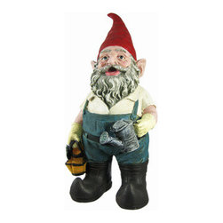 Cute Gardener Gnome Statue Figure Gardening - Now-A-Day Gnomes are just as mischievous as all their older brothers and sisters, they just have more hobbies and get into newer things. Biking, hiking, hunting, fishing, maybe even playing air guitar! This gnome seems to have a green thumb under his gardening gloves. He wears overalls and steel toe curved boots, holds a gardening tool bag in one hand and a watering can in the other. Made of cold cast resin, the gnome measures 14 1/2 inches tall, 6 3/4 inches wide and 6 inches deep. He`s hand-painted, and shows great detail. He makes a wonderful gift for any gnome collector.