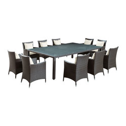Bella Vista Outdoor Wicker Dining Table and Ten Chair Set