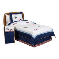 Sweet Jojo Designs - Aviator Bedding Set Twin (4-Piece) - The Aviator children's bedding set by Sweet Jojo Designs will help you create an incredible room for your child. This charming boy bedding set uses navy and sky blue borders with a red and white stripe piping and delicate quilt stitching lines that add detail and style. Flying throughout the set are wonderful, detailed embroidery and appliques works of vintage airplanes from the past. This collection uses the stylish colors of navy, sky blue, red and white. The design uses 100% cotton fabrics combined with micro suede fabrics that are machine washable for easy care. This set comes in twin and Queen sizes. The twin bedding set is a 4-piece set that comes with a comforter, pillow sham, bed skirt, and window valance. The queen bedding set is a 3-piece set that comes with a comforter and 2 pillow shams.