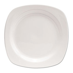 Office Settings - Office Settings Chef's Table Porcelain Square Dinnerware, Plate, 10 1/2 dia - Sophisticated dinnerware is as durable as it is attractive. Rolled edges and finger-touch grips ensure easy handling, wet or dry. All-white pallet matches any table decor.