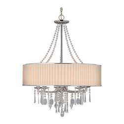 Golden Lighting - Echelon 5-Light Chandelier - This brilliant chandelier doesn't hold back when it comes to showcasing the sparkle. You get beaded strands, as well as a dangling collection of glass droplets that shimmer in the light.