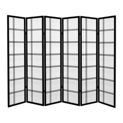 Oriental Furniture - 6 ft. Tall Canvas Double Cross Room Divider - Black - 6 Panels - Have the look of a classic shoji screen in canvas form with our new 6 ft. Tall Double Canvas Room Divider. Constructed with two way hinges, this room divider is not only versatile but lightweight and portable so you can switch it to any room hassle free.