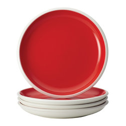 Rachael Ray - Rachael Ray Dinnerware Rise 4-Piece Stoneware Salad Plate Set, Red - With eye-catching shape, style and two-tone hues, these plates are ideal for mixing and matching with other dishes in the Rise collection to create a personalized table setting. The salad plate set is crafted from durable glazed stoneware.