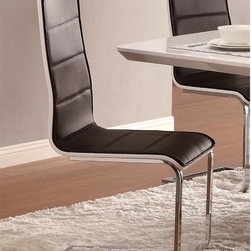 None - Grandview Modern Black & White Dining Chairs (Set of 4) - This solid metal construction with soft black upholstery,bent wood and curved chrome will add a sophisticated look to your dining area.