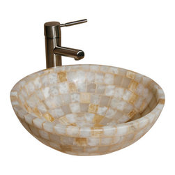 """The Allstone Group - L-VMR-SS-16WS Polished #7 Vessel Sink - Natural stone strikes a balance between beauty and function. Each design is hand-hewn from 100% natural stone.  Allstone mosaic vessel sinks are our only product that is not carved from one single piece of stone.  Onyx was used in Egypt as early as the Second Dynasty to make bowls and other pottery items. Onyx is also mentioned in the Bible at various points, such as in Genesis 2:12 """"and the gold of that land is good: there is bdellium and the onyx stone"""", and such as the priests' garments and the foundation of the city of Heaven in Revelation."""