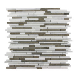 """Torpedo Alaskan Blend Marble Mosaic Tiles - TORPEDO 1/4 X RANDOMALASKANBLEND MARBLEPATTERN MOSAIC TILE This marble mosaic will provide endless design possibilities from contemporary to classic. It creates a great focal point to suit a variety of settings. The mesh backing not only simplifies installation, it also allows the tiles to be separated which adds to their design flexibility. Chip Size: 1/4"""" x Random Color: Lagos Azul, White Thassos, White Carrera Material: Marble Mosaic Finish: Polish Sold by the Sheet - each sheet measures 12"""" x 12"""" (1 sq. ft.) Thickness: 8mm"""