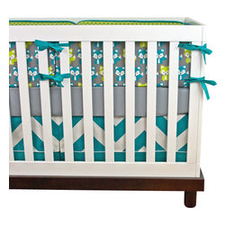Modified Tot - Baby Bedding Crib Set, Foxy Baby - These modern woodland foxes are a Modified Tot exclusive, don't miss out! A timeless nursery theme made modern with a bold turquoise and lime color palette.