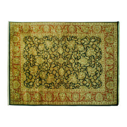 Rajasthan Oriental Rug, Floral Design 9'X12' 100% Wool Hand Knotted Rug SH6679 - Agra & Rajasthan Hand Knotted Rugs have Persian inspired floral motifs.  They are hand knotted from India and usually consists of 100% Wool.  The colors usually consists of Blacks, Deep Reds, Browns, & Greens.