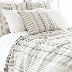 Pine Cone Hill - PCH Gradation Linen Duvet Cover - PCH delivers a preppy yet easy-going accent with the striped Gradation duvet cover. The bed linen's alternating neutral lines lend a touch of modern style. Available in twin, full and king; 100% linen; Slate, dune, ivory and sand; Button closure; Designed by Pine Cone Hill, an Annie Selke company; Machine wash