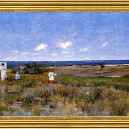 """William Merritt Chase-16""""x24"""" Framed Canvas - 16"""" x 24"""" William Merritt Chase Near the Beach, Shinnecock framed premium canvas print reproduced to meet museum quality standards. Our museum quality canvas prints are produced using high-precision print technology for a more accurate reproduction printed on high quality canvas with fade-resistant, archival inks. Our progressive business model allows us to offer works of art to you at the best wholesale pricing, significantly less than art gallery prices, affordable to all. This artwork is hand stretched onto wooden stretcher bars, then mounted into our 3"""" wide gold finish frame with black panel by one of our expert framers. Our framed canvas print comes with hardware, ready to hang on your wall.  We present a comprehensive collection of exceptional canvas art reproductions by William Merritt Chase."""