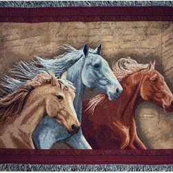 Manual - Three Horses Brown / Gray Tapestry Throw Blanket 50 Inch x 60 Inch - This multicolored woven tapestry throw blanket is a wonderful addition to your home or cabin. Made of cotton, the blanket measures 50 inches wide, 60 inches long, and has approximately 1 1/2 inches of fringe around the border. The blanket features a trio of running horses against a background of hand-written paper. Care instructions are to machine wash in cold water on a delicate cycle, tumble dry on low heat, wash with dark colors separately, and do not bleach. This comfy blanket makes a great housewarming gift that is sure to be loved.