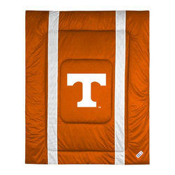 "Sports Coverage - University of Tennessee Sidelines Comforter - This solid colored jersey mesh comforter is a great way to show support for your favorite team, and it makes the perfect gift for the ultimate fan. Each comforter looks and feels like a real jersey and has the team logo centered on solid team colors. It offers a machine washable design with warm and comfortable polyester fill. Sideline option adds a long mesh line along each side of the logo for a stylish effect. Comforters are available in Twin and Full/Queen sizes. Features: -Tennessee Vols theme -Screen-printed team graphic -100% polyester jersey mesh -100% polyester fill -5.5 oz. bonded polyester batts -Machine washable -Made in USA -Twin size: 86"" H x 68"" W -Full/Queen size: 86"" H x 86"" W"
