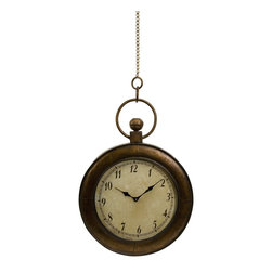 iMax - iMax Pocket Watch Wall Clock X-02178 - Antique look oversized pocket watch as wall clock.  Made of iron with a glass face. This pocket watch was definitely not made for your pocket, but will look great on your wall.