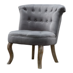 Great Deal Furniture - QuinnTufted Accent Chair, Grey - The design of the Quinn light grey tufted accent chair derives from French Country elegance. The contoured curves of this occasional chair with the button tufted detailing and weathered legs, create a unique and charming piece that will enhance any room you choose to place it.