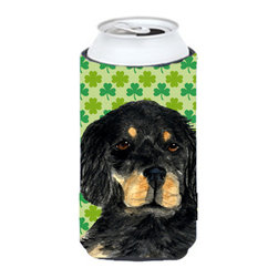 Caroline's Treasures - Gordon Setter St. Patrick's Day Shamrock Portrait Tall Boy Koozie Hugger - Gordon Setter St. Patrick's Day Shamrock Portrait Tall Boy Koozie Hugger Fits 22 oz. to 24 oz. cans or pint bottles. Great collapsible koozie for Energy Drinks or large Iced Tea beverages. Great to keep track of your beverage and add a bit of flair to a gathering. Match with one of the insulated coolers or coasters for a nice gift pack. Wash the hugger in your dishwasher or clothes washer. Design will not come off.