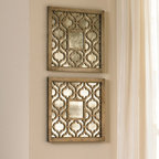Set of Two Square Silver Sorbolo Decorative Wall Mirrors - This pair of decorative framed wall mirrors will elegantly accent your decor, perfect for adding that pretty detail to a room. The wood frame features a Moroccan design in a clean silver finish. With only a small distressed mirror in the center, this framed pair is more for aesthetics than function. Design by Grace Feyock for Uttermost.