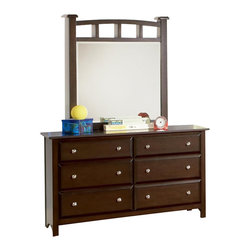 Coaster - Coaster Jasper 6 Drawer Double Dresser and Mirror in Rich Cappuccino - Coaster - Dressers - 400753400754PKG - Coaster Jasper 6 Drawer Double Dresser in Rich Cappuccino Finish (included quantity: 1)