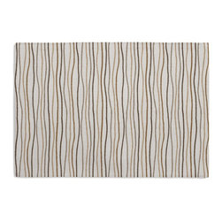 Tan & Brown Wavy Lines Custom Placemat Set - Is your table looking sad and lonely? Give it a boost with at set of Simple Placemats. Customizable in hundreds of fabrics, you're sure to find the perfect set for daily dining or that fancy shindig. We love it in this modern wavy lined stripe in gold, brown & gray.  a hint of playfulness to liven up any space.