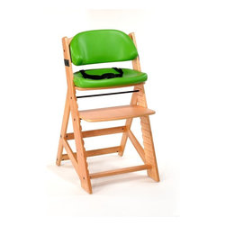 """Bergeron By Design - Keekaroo Height Right Kids Chair Natural with Lime Comfort Cushions Multicolor - - Shop for Highchairs from Hayneedle.com! Any table you pull the Keekaroo Height Right Kids Chair Natural with Lime Comfort Cushions up to will instantly become the cool kids' table. Stylish and durable this versatile chair adapts as your child grows. Made from environmentally friendly Rubberwood its sturdy design holds up to 250 pounds and will be your child's favorite seat for years to come. Pop on the included BPA- and latex-free Comfort Cushions and adjust the 3-point harness for added safety and comfort. When mealtime is over simply wipe the chair and cushions down with warm soapy water. The cushions' outer layer is impermeable to liquids and offers antimicrobial protection. Five year manufacturer's warranty. Assembly required. The Beauty and Benefits of RubberwoodHailing from the maple family of trees the rubber tree is used in the manufacture of high-end furniture. This durable Asian hardwood is valued for its dense grain minimal shrinkage attractive color and acceptance of different finishes. It is also prized as an """"environmentally friendly"""" wood as it makes use of trees that have been cut down at the end of their latex-producing cycle. About KeekarooKeekaroo high chairs and accessories were the brainchild of a father devoted to making better safer furniture for his own children. Rethinking size shape and support from the perspective of a parent owner Tom Bergeron tapped the creativity and insights of his own children to create the most innovative line of high chairs and accessories available. Each offers a more comfortable seating experience grows with your child and has an easy-to-clean surface for Mom and Dad."""