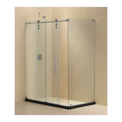 "DreamLine - DreamLine SHEN-6234480-07 Enigma-Z Shower Enclosure - DreamLine Enigma-Z 34 1/2"" by 48 3/8"" Fully Frameless Sliding Shower Enclosure, Clear 3/8"" Glass Shower, Brushed Stainless Steel Finish"