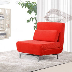 Romano Convertible Sofa Chair, Red Fabric