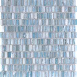 "Glass Tile Oasis - Heaven Shimmer 1/2"" x 1"" Blue Pool Frosted Glass - Sheet size:  1.09 Sq. Ft.   Tile Size:  1/2"" x 1""   Tiles per sheet:  282    Tile thickness:  1/4""   Grout Joints:  1/8""   Sheet Mount: Paper Face    MADE TO ORDER-LEAD TIME 2 WEEKS     Sold by the sheet    - Brilliant transparent glass combed through with coordinating opaque colors  and featuring a contemporary smooth-edge. Each piece is hand-poured and unique  designed with a certain amount of variation and variegation of color  tone  texture and shade for a distinctive appearance. Our handmade process incorporates creases  wrinkles  waves  bubbles and other surface effects indicative of handmade glass  all designed to capture light and enhance the final beauty of the project."