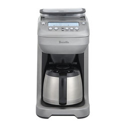Breville® You Brew Thermal 12 Cup Coffee Maker - Streamlined style, high performance and full functionality add up to this ultimate coffee brewing experience from Breville. Triple programming sets you up for easy brewing of a cup, travel mug or carafe; innovative Brew IQ with intelligent pre-heat function and dosing system assures ideal water temperature and the perfect amount of coffee for your chosen brew size and strength. Brew your choice of ground or whole beans, which are handled by a state-of-the-art integrated burr grinder, while the front-access swing basket makes it easy to load and discard coffee. Additional features include brew-pause, top-filling water tank, ready signal with adjustable volume control and the convenience of a heat-retaining thermal carafe.