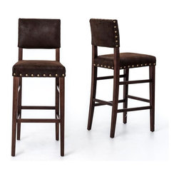 Four Hands - Blake Barstool, Nubuck - Bring classic style and total comfort to your favorite setting with this bar stool. Clean lines and plush upholstery take on a rugged decorative element from brass detailing — the final effect is pure casual sophistication.